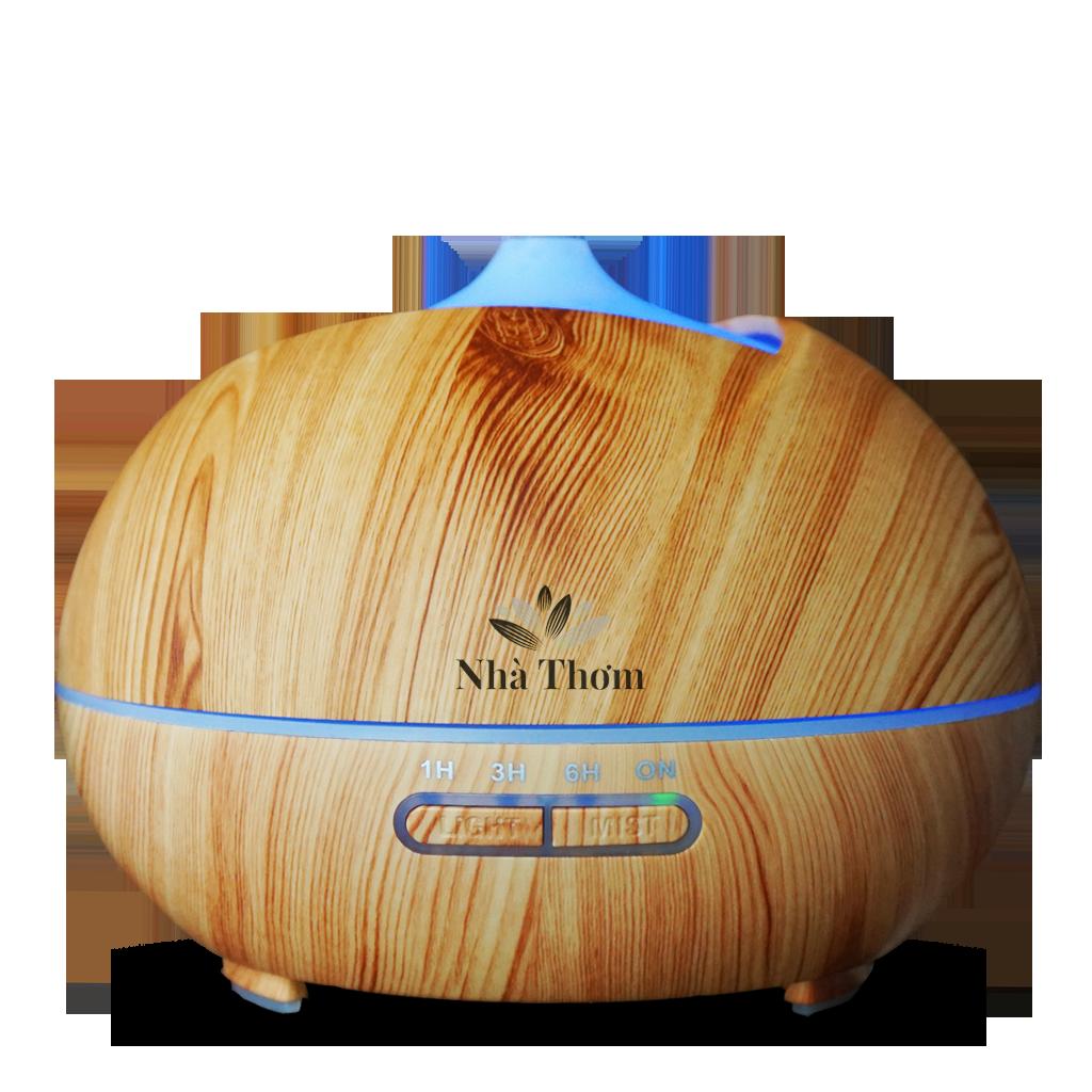 Máy khuếch tán Hoa Sen gỗ nâu